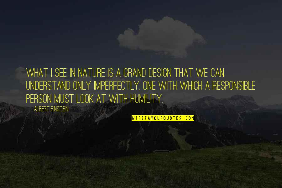 Grand Design Quotes By Albert Einstein: What I see in Nature is a grand