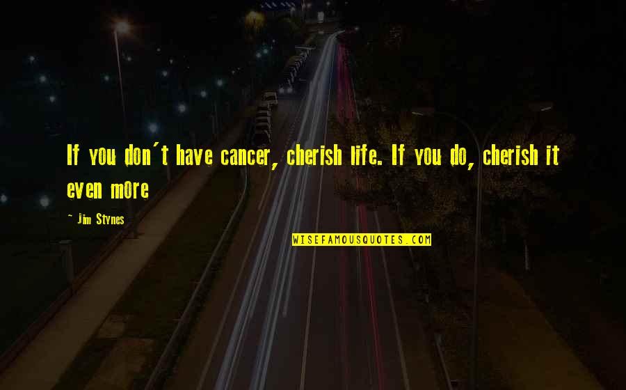 Grand Design Quotes By Jim Stynes: If you don't have cancer, cherish life. If