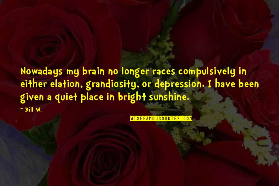 Grandiosity Quotes By Bill W.: Nowadays my brain no longer races compulsively in