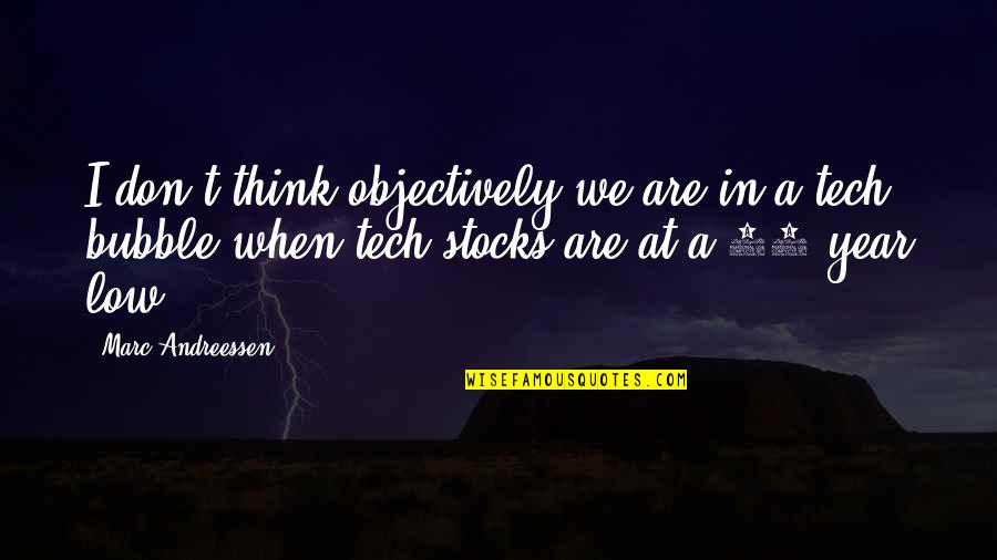 Graphic Tees Quotes By Marc Andreessen: I don't think objectively we are in a