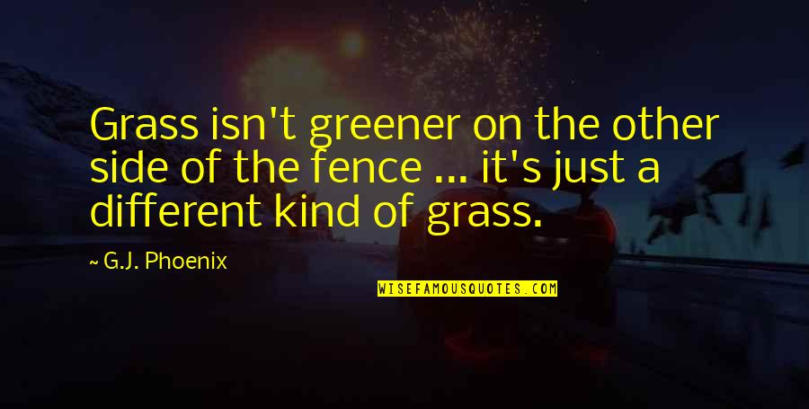 Grass Isn Greener On The Other Side Quotes By G.J. Phoenix: Grass isn't greener on the other side of
