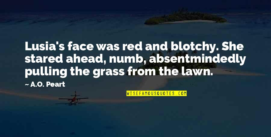 Grass's Quotes By A.O. Peart: Lusia's face was red and blotchy. She stared