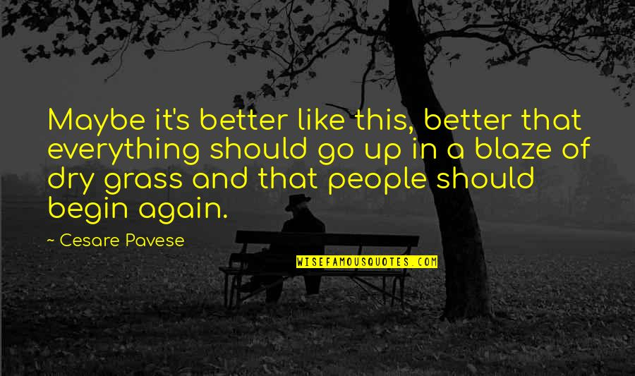 Grass's Quotes By Cesare Pavese: Maybe it's better like this, better that everything