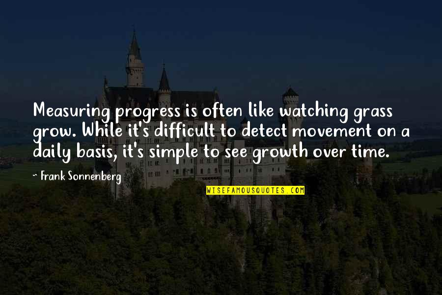 Grass's Quotes By Frank Sonnenberg: Measuring progress is often like watching grass grow.