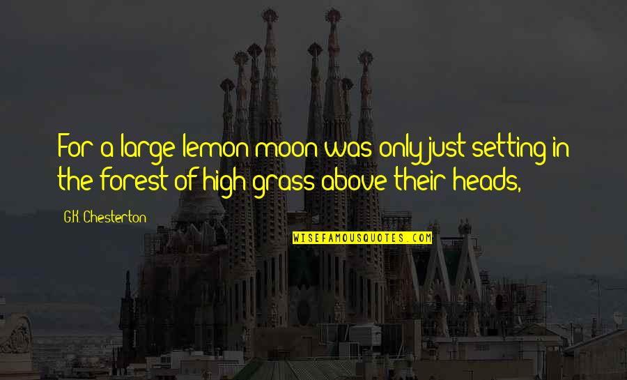 Grass's Quotes By G.K. Chesterton: For a large lemon moon was only just