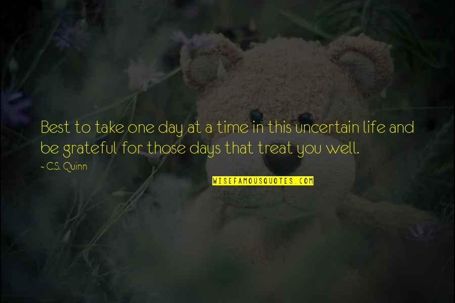 Grateful For You Quotes By C.S. Quinn: Best to take one day at a time