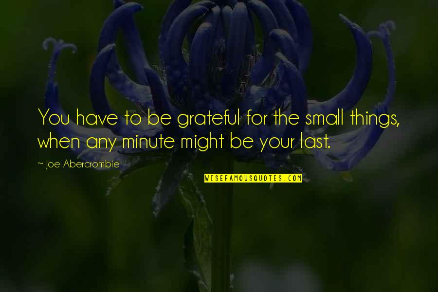 Grateful For You Quotes By Joe Abercrombie: You have to be grateful for the small