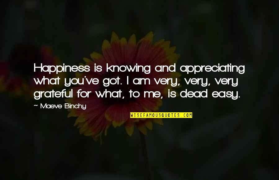 Grateful For You Quotes By Maeve Binchy: Happiness is knowing and appreciating what you've got.