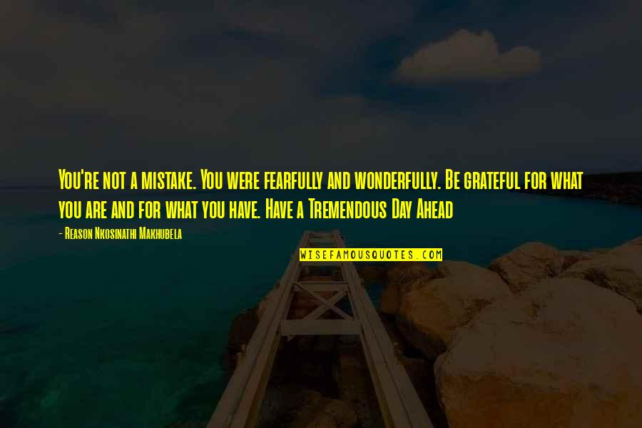 Grateful For You Quotes By Reason Nkosinathi Makhubela: You're not a mistake. You were fearfully and