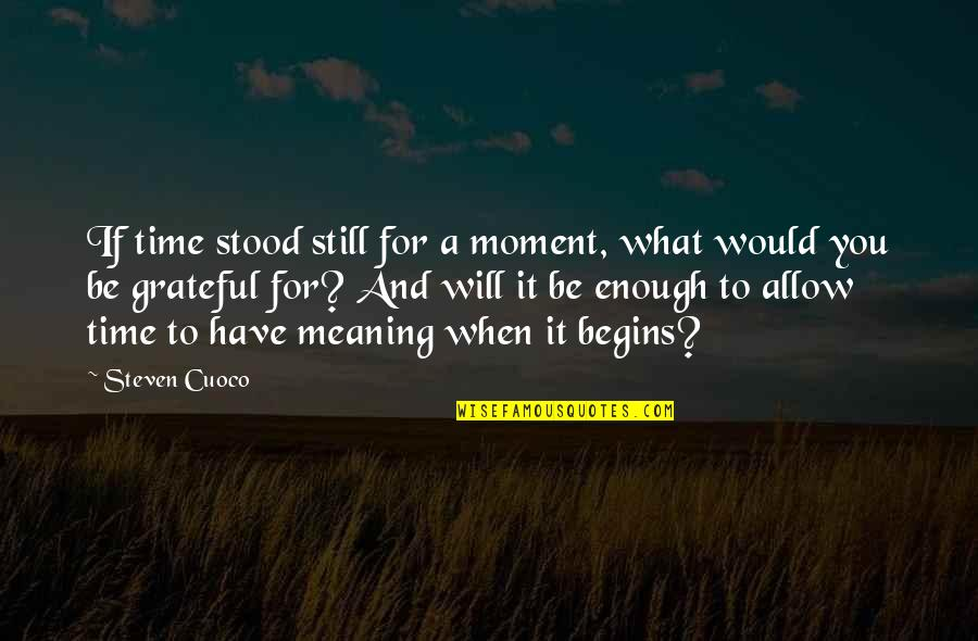 Grateful For You Quotes By Steven Cuoco: If time stood still for a moment, what