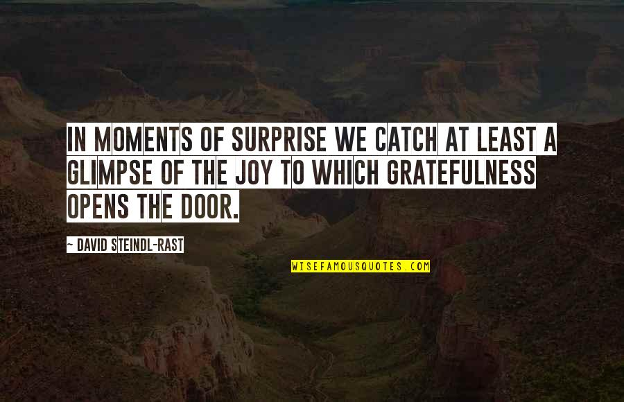 Gratefulness Quotes By David Steindl-Rast: In moments of surprise we catch at least