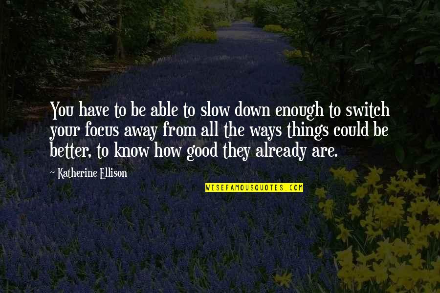 Gratefulness Quotes By Katherine Ellison: You have to be able to slow down