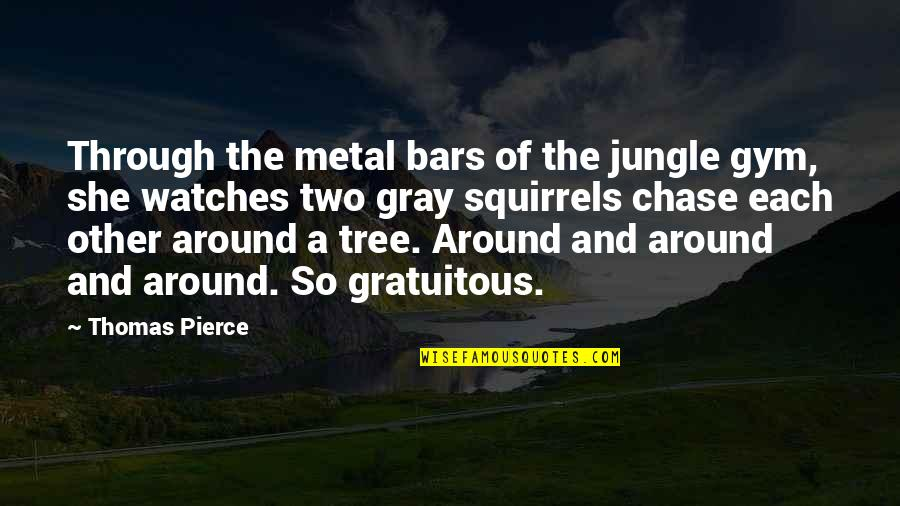 Gratuitous Quotes By Thomas Pierce: Through the metal bars of the jungle gym,