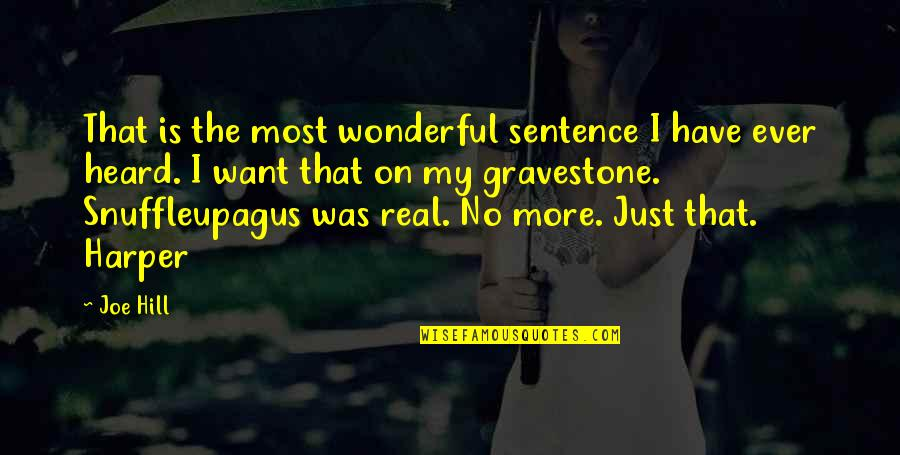 Gravestone Quotes By Joe Hill: That is the most wonderful sentence I have
