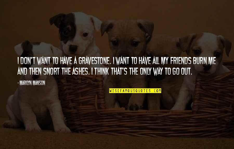 Gravestone Quotes By Marilyn Manson: I don't want to have a gravestone. I