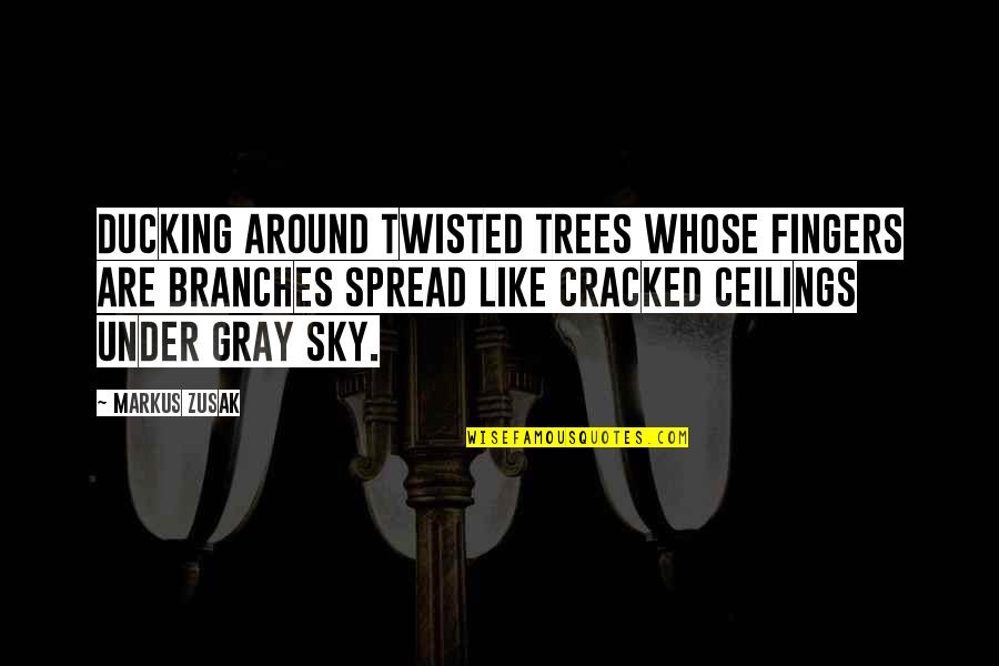 Gray Sky Quotes By Markus Zusak: Ducking around twisted trees whose fingers are branches