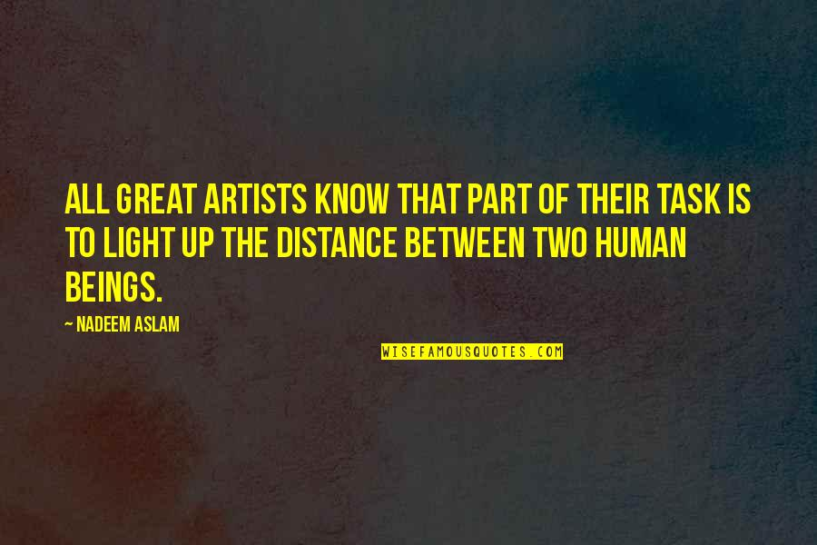 Great Beings Quotes By Nadeem Aslam: All great artists know that part of their