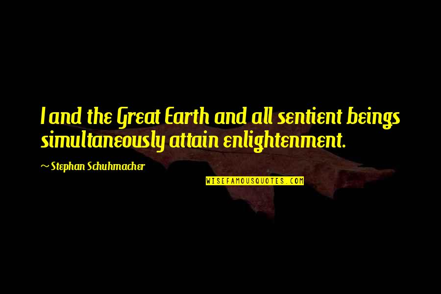 Great Beings Quotes By Stephan Schuhmacher: I and the Great Earth and all sentient
