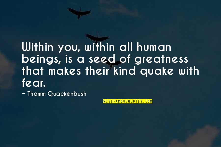 Great Beings Quotes By Thomm Quackenbush: Within you, within all human beings, is a