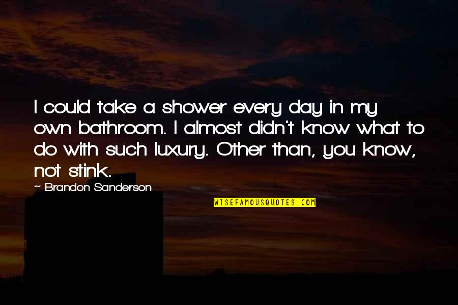 Great Brand Strategy Quotes By Brandon Sanderson: I could take a shower every day in