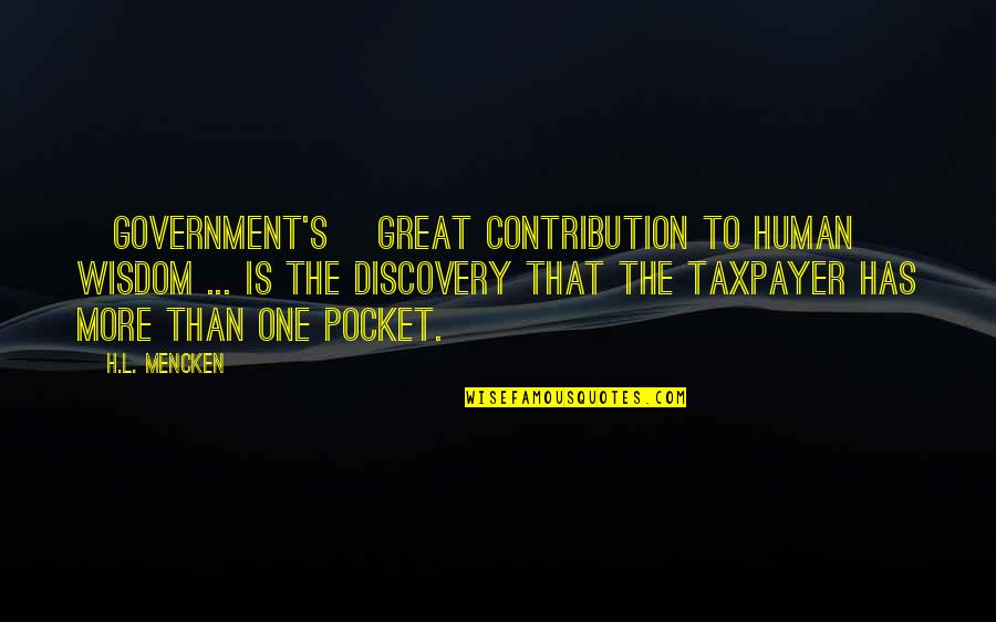 Great Discovery Quotes By H.L. Mencken: [Government's] great contribution to human wisdom ... is