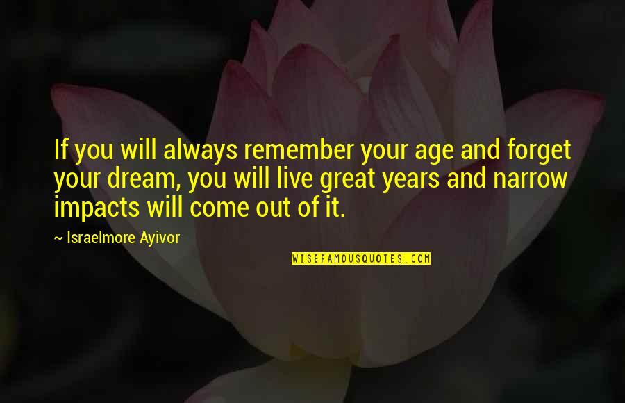Great Forget Quotes By Israelmore Ayivor: If you will always remember your age and