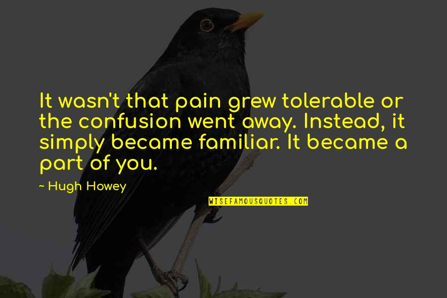Great Gilmore Girl Quotes By Hugh Howey: It wasn't that pain grew tolerable or the