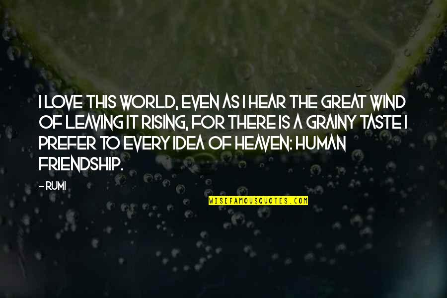 Great Love And Friendship Quotes By Rumi: I love this world, even as I hear