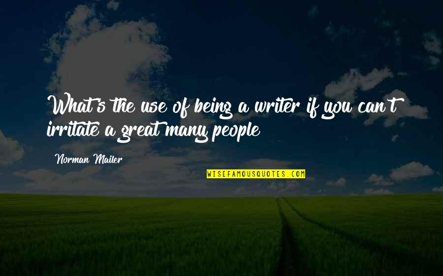 Great Men's Quotes By Norman Mailer: What's the use of being a writer if