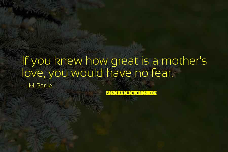 Great Mother Quotes By J.M. Barrie: If you knew how great is a mother's