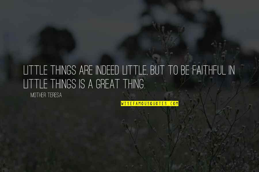 Great Mother Quotes By Mother Teresa: Little things are indeed little, but to be