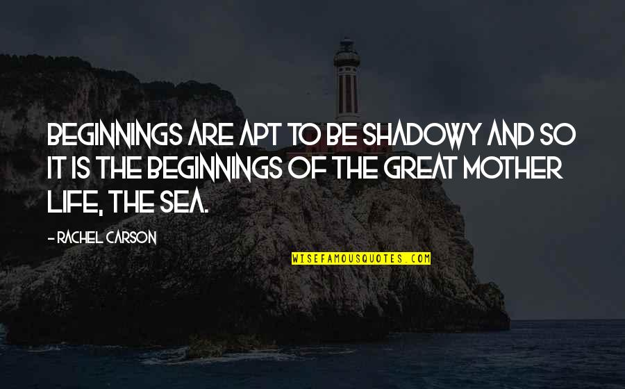 Great Mother Quotes By Rachel Carson: Beginnings are apt to be shadowy and so