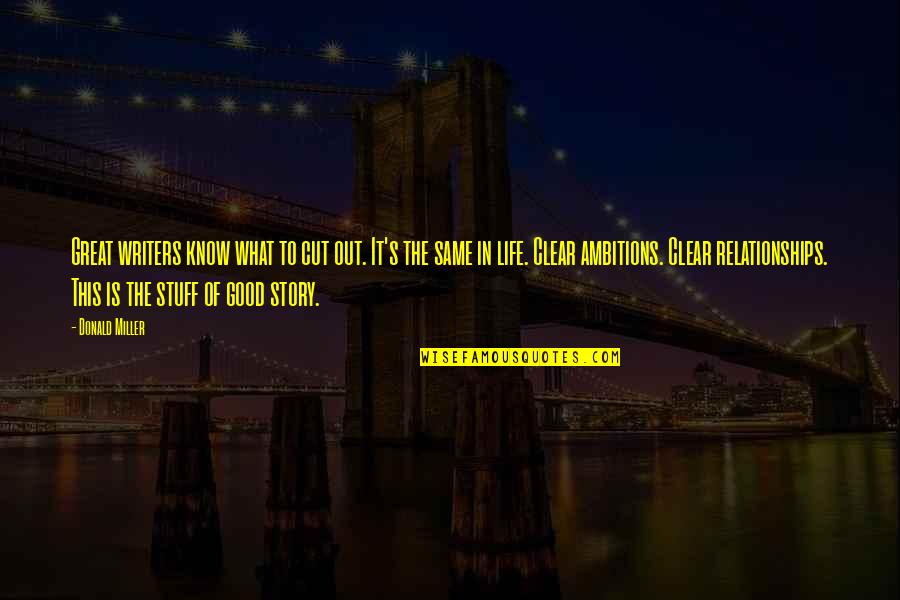 Great Relationships Quotes By Donald Miller: Great writers know what to cut out. It's
