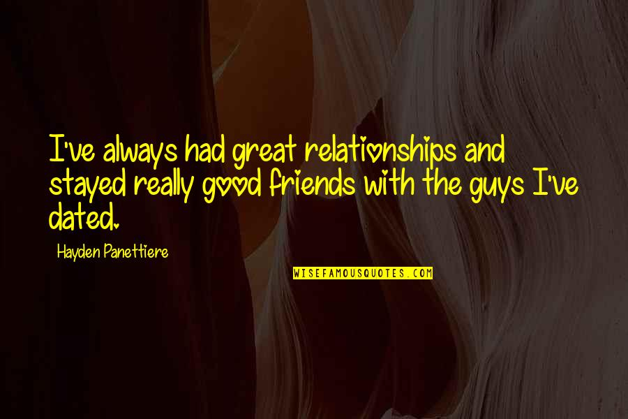 Great Relationships Quotes By Hayden Panettiere: I've always had great relationships and stayed really
