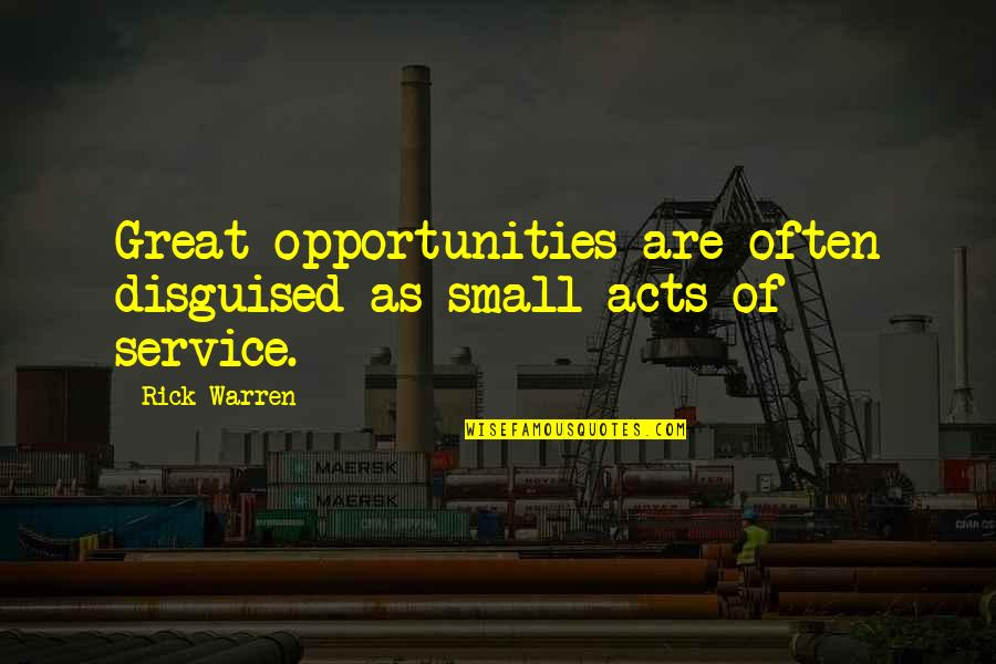 Great Service Quotes By Rick Warren: Great opportunities are often disguised as small acts
