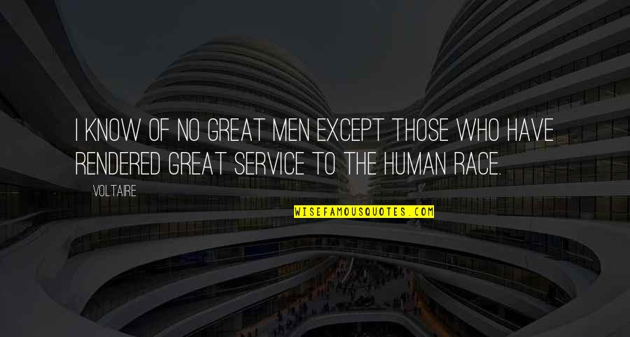 Great Service Quotes By Voltaire: I know of no great men except those