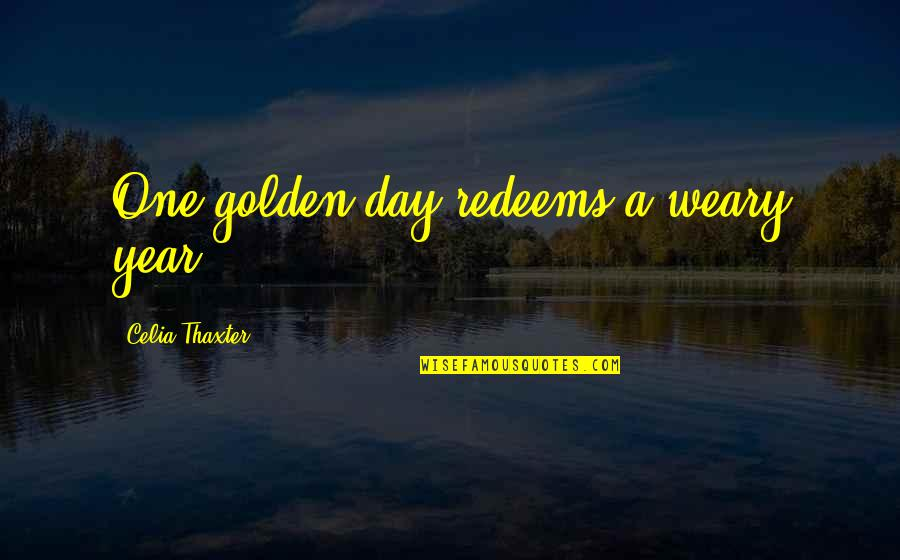 Great Teacher Onizuka Funny Quotes By Celia Thaxter: One golden day redeems a weary year