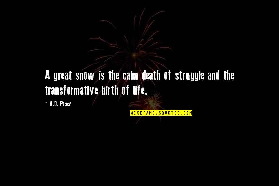 Great Writers Inspirational Quotes By A.D. Posey: A great snow is the calm death of