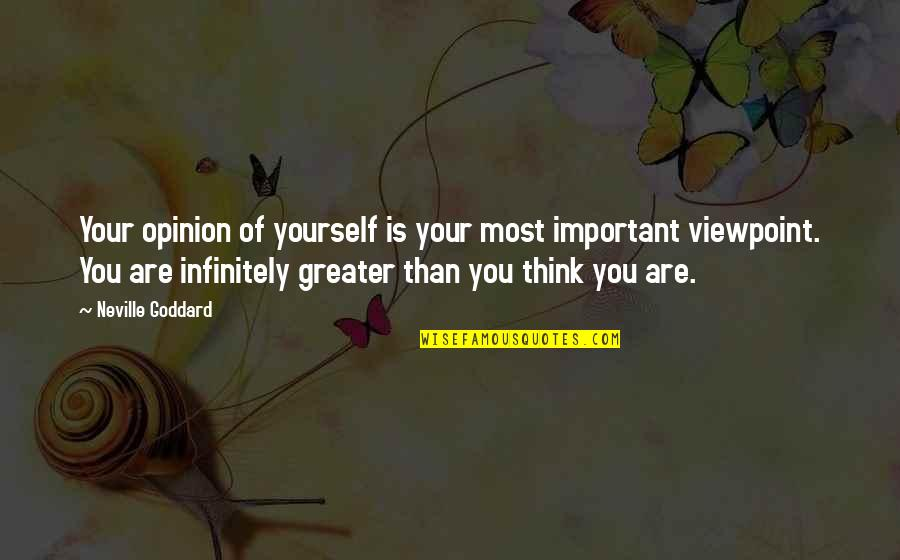 Greater Than Yourself Quotes By Neville Goddard: Your opinion of yourself is your most important