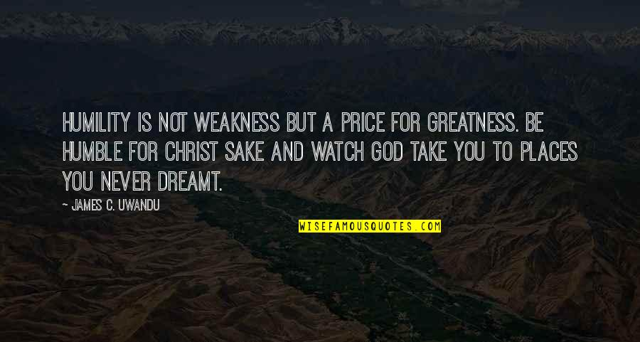 Greatness And Humility Quotes By James C. Uwandu: Humility is not weakness but a price for