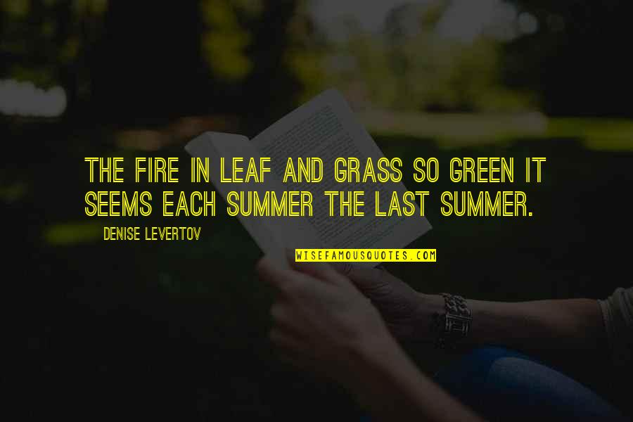 Green Grass Quotes By Denise Levertov: The fire in leaf and grass so green