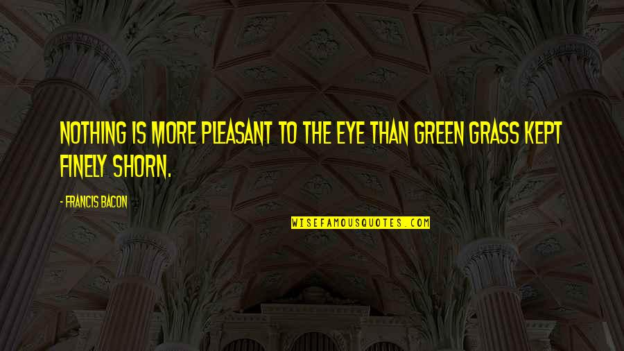 Green Grass Quotes By Francis Bacon: Nothing is more pleasant to the eye than