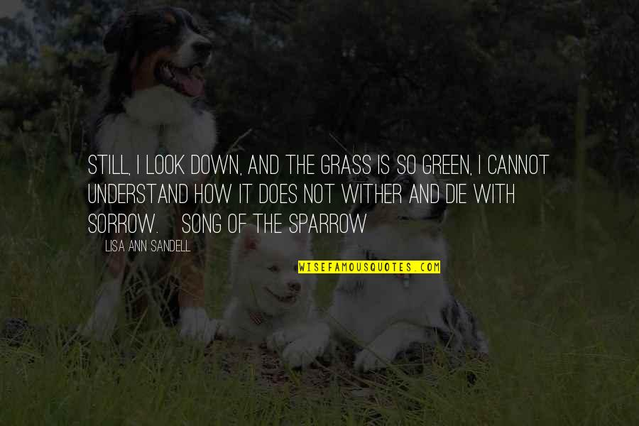 Green Grass Quotes By Lisa Ann Sandell: Still, I look down, and the grass is
