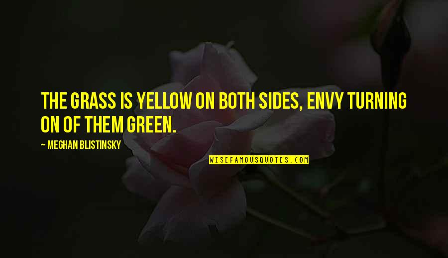 Green Grass Quotes By Meghan Blistinsky: The grass is yellow on both sides, envy