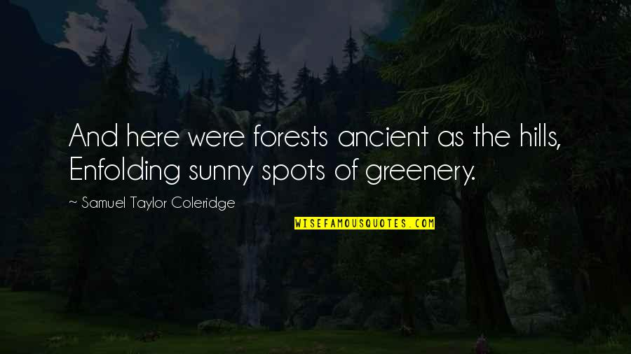 Greenery And Nature Quotes By Samuel Taylor Coleridge: And here were forests ancient as the hills,