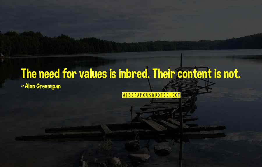 Greenspan Quotes By Alan Greenspan: The need for values is inbred. Their content