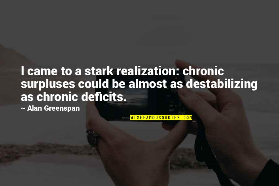 Greenspan Quotes By Alan Greenspan: I came to a stark realization: chronic surpluses