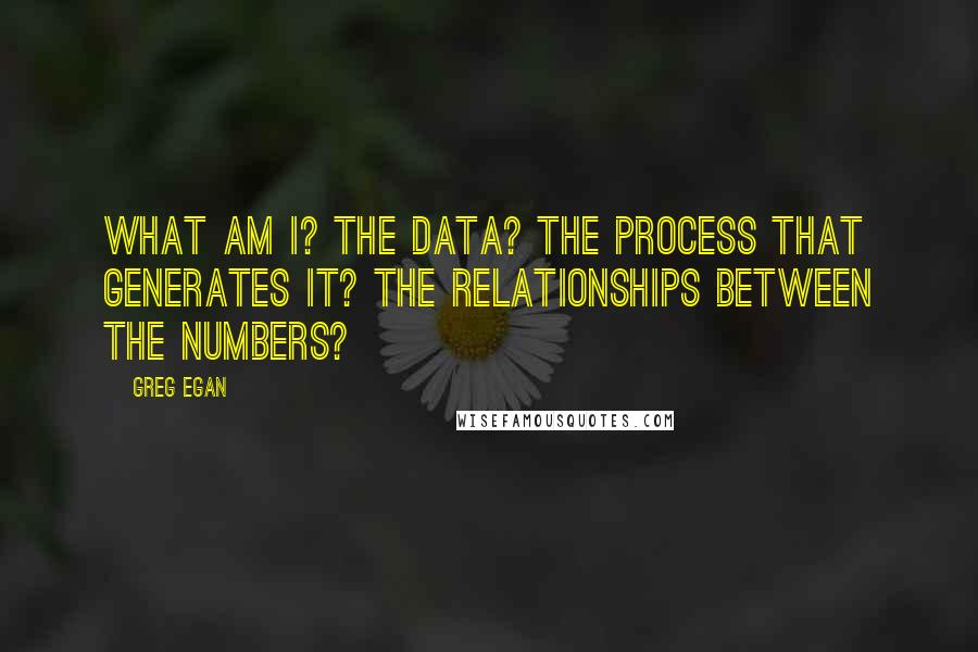 Greg Egan quotes: What am I? The data? The process that generates it? The relationships between the numbers?