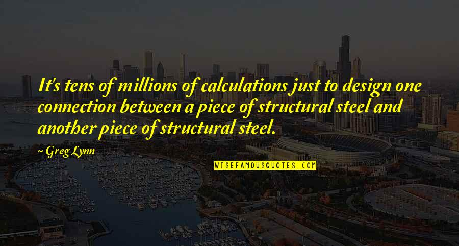 Greg Lynn Quotes By Greg Lynn: It's tens of millions of calculations just to