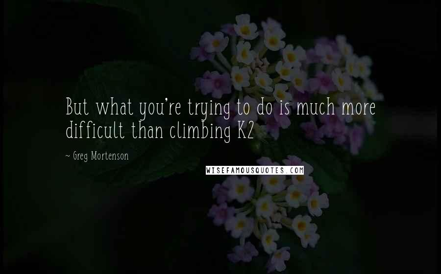 Greg Mortenson quotes: But what you're trying to do is much more difficult than climbing K2